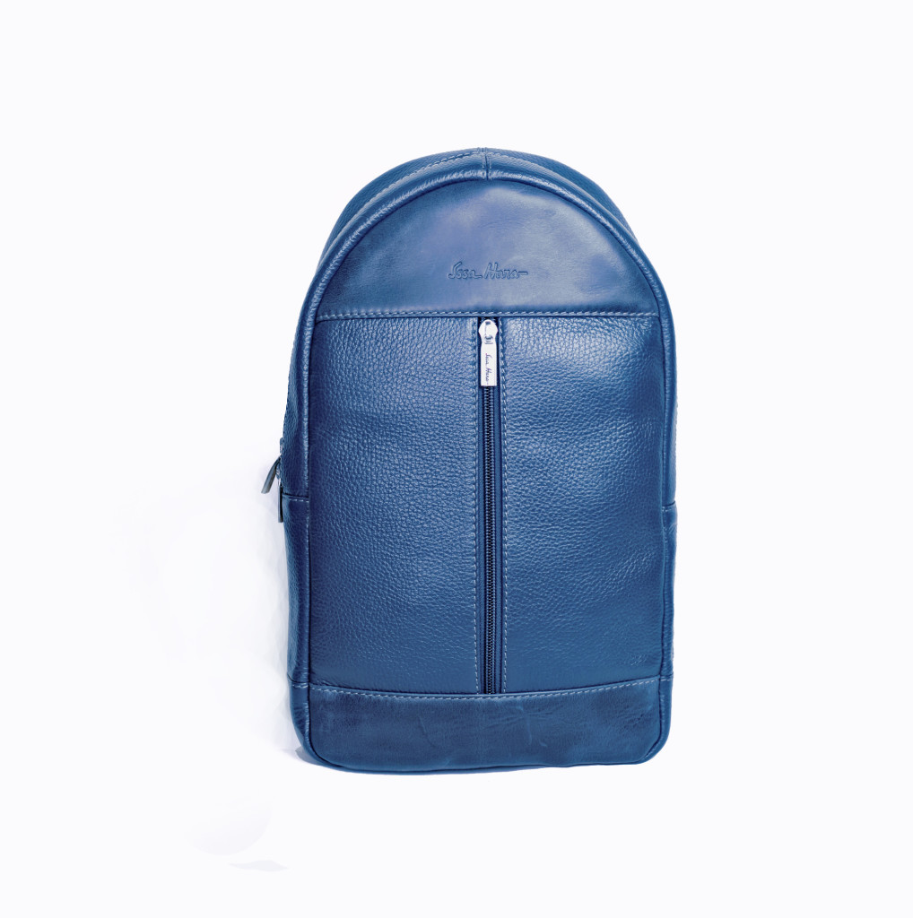 Мужской кожаный рюкзак Issa Hara ВР1 синий