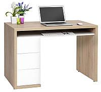 Столик компьютерный светлый бук + 3 ящика белые выдвижные