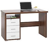 Стол письменный кремовый орех, компьютерный + 3 белые ящика выдвижный