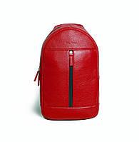 Мужской кожаный рюкзак Issa Hara ВР1 красный