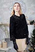 Жакет из черной каракульчи Swakara с вышивкой