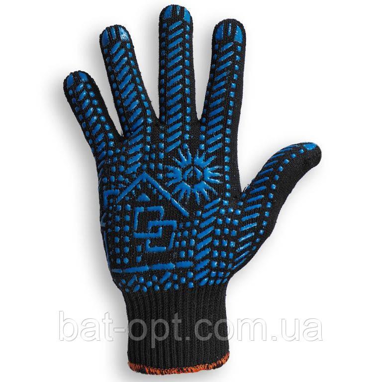 Перчатки рабочие ДОМ Х/Б черные с ПВХ точкой, размер 10 (Украина)