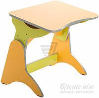Детская парта - стол антисколиозная регулируемая по высоте зелено желтая