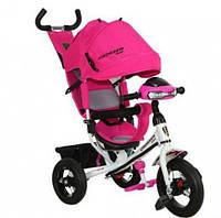 Трехколесный велосипед Azimut Crosser T-1 надувные колеса, фара, розовый