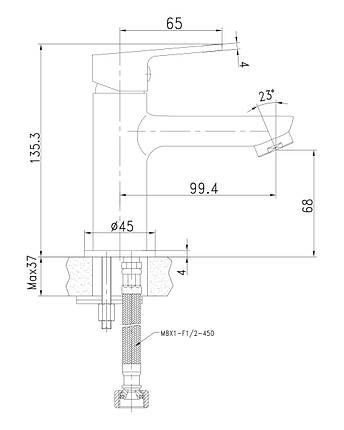 LASKA cмеситель для раковины, сатин, 35 мм, фото 2