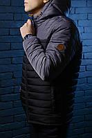 Куртка весенняя, осенняя, демисезонная  мужская,черный + серый, до -2 градусов