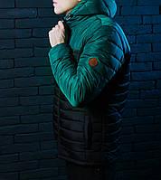 Куртка весенняя, осенняя, демисезонная  мужская, черная+зеленый, до -2 градусов
