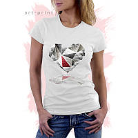 Летняя женская белая футболка с диамантами DIAMOND HEART