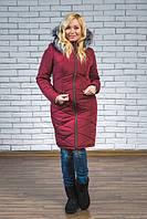 Женское зимнее пальто  с натуральным мехом цвет бордо р-42-54