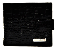Мужской кошелек KARYA  под крокодила кожаный черный QAD-001001