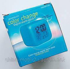 Светящиеся часы-кубик CX 508, ночник с будильником, термометром и календарём, 7 цветов подсветки, фото 3