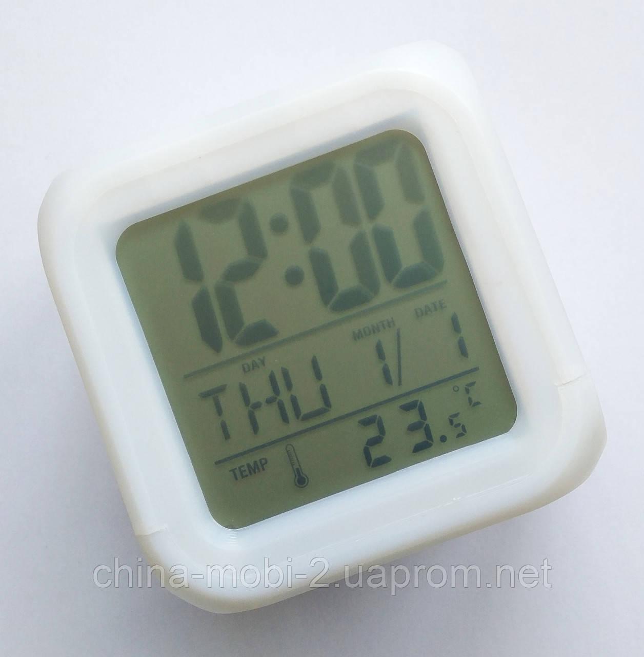 Светящиеся часы-кубик CX 508, ночник с будильником, термометром и календарём, 7 цветов подсветки