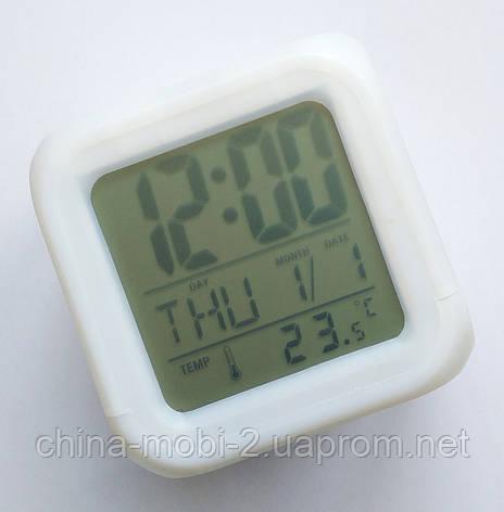 Светящиеся часы-кубик CX 508, ночник с будильником, термометром и календарём, 7 цветов подсветки, фото 2