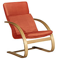 Кресло красное (основа береза + тканевая оббивка теракот)