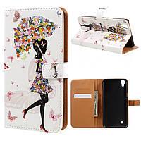 Чехол книжка для LG X Power K220DS боковой с отсеком для визиток, Девушка и бабочки
