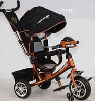 Трехколесный велосипед Azimut Crosser T-1 надувные колеса, фара, коричневый