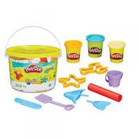 Ведерко с формочками и пластилин Play-Doh Пляж, 3 баночки