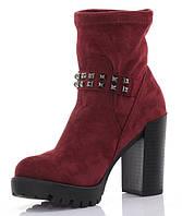 Удобные ботинки на каблуке красного цвета размер 36-41