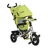 Трехколесный велосипед Azimut Crosser T-1 надувные колеса, фара, зеленый