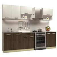 Кухонный гарнитур ДСП 2 метра из 6 модулей молочный верх и темный низ
