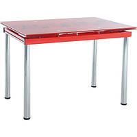 Стол стеклянный красный раскладной обеденный