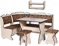 Комплект с мягким кухонным уголком,столом. 2 мя табуретками и подвесной полочки
