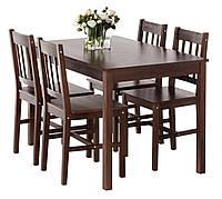 Комплект кухонный ( стол + 4 стула) темно коричневые