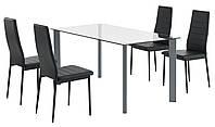 Комплект кухонный ( стол стеклянный 160 см + 4 стула черные)