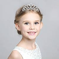 Детская корона, диадема на гребешке, тиара для девочки, высота 4 см.