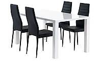 Комплект кухонный  (обеденная группа из стола прямоугольного белого + 4 стула черные)