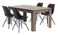 Комплект кухонный мебели (обеденная группа из стола прямоугольного + 4 стула черные)