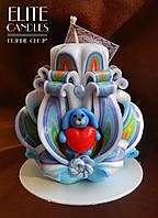 Подарок на 14 февраля, резная свеча ручной работы с декором из полимерной глины