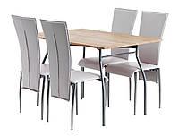 Комплект кухонный  (стол обеденный 120 см + 4 стула скремовых со спинкой высокой) )
