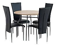 Обеденная группа  (Стол круглый белого + 4 стула черных кожаных с высокой спинкой )