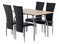 Комплект кухонный  (стол обеденный 120 см + 4 стула черных кожаных со спинкой высокой) )