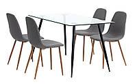 Комплект кухонный  (стол обеденный стеклянный 140 см + 4 стула тканевых серых со спинкой )