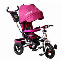 Трехколесный велосипед Azimut Crosser T-400 надувные колеса, фара, розовый