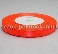 Лента атласная ширина 0,6 см. (23 метра) цвет - оранж неон (очень яркий)