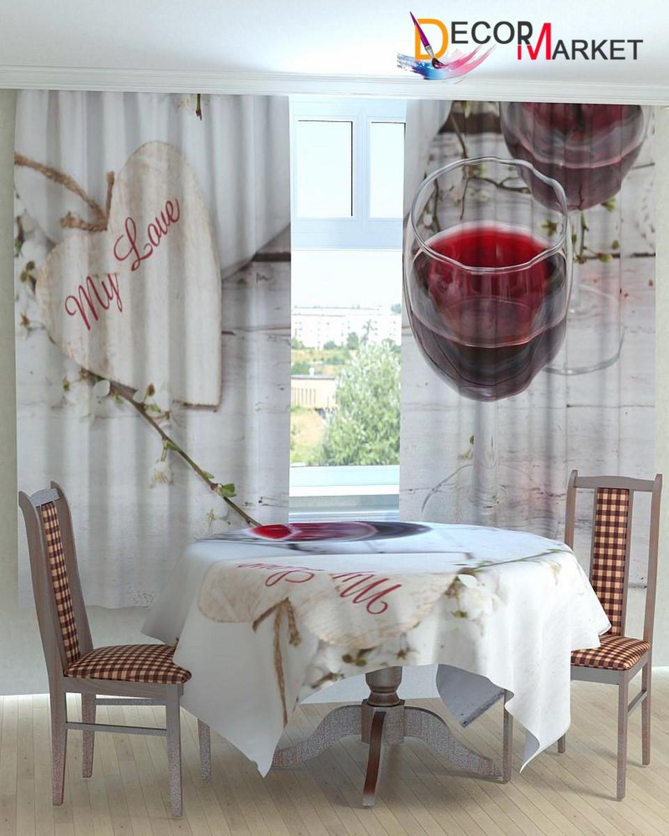 Фотошторы для кухни бокал вина