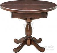 Стол круглый деревянный раскладной на одной ножке темный орех стиль классический