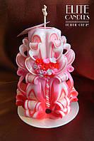 Подарок на 14 февраля, 8 марта, резная свеча ручной работы с декором из полимерной глины