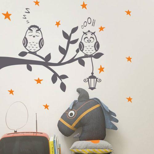 Интерьерная виниловая наклейка Совиное семейство (детские наклейки птицы, совы на ветке, фонарь, декор детской