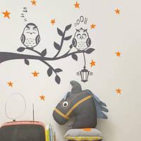 Интерьерная виниловая наклейка Совиное семейство (детские наклейки птицы, совы на ветке, фонарь, декор детской, фото 1
