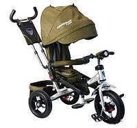 Трехколесный велосипед Azimut Crosser T-400 надувные колеса, фара, зеленый