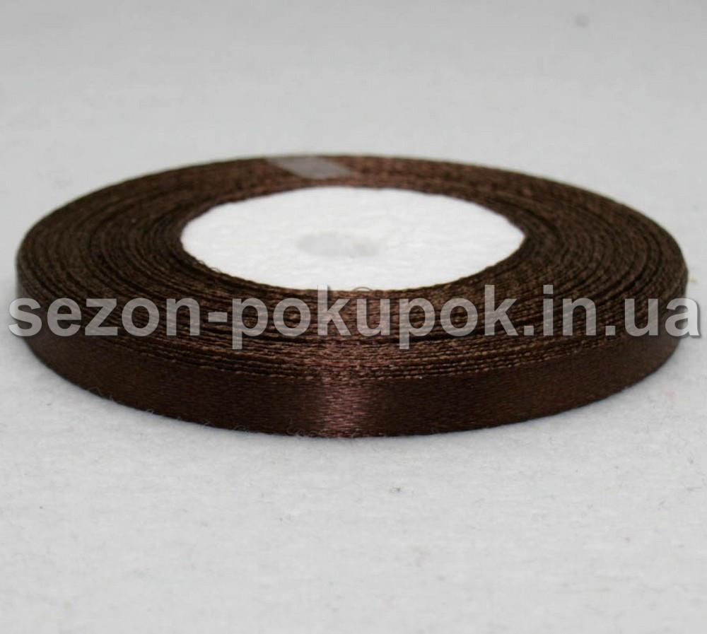 Лента атласная ширина 0,6 см. (23 метра)  цвет - коричневый