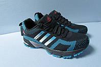 Женские кроссовки Adidas (7305-3) темно синие с голубым код 2804А