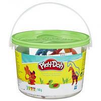 Ведерко с формочками и пластилин Play-Doh Животные, 3 баночки