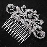 """Гребінь """"Ніжність"""" з перлами під срібло у зачіску, фото 5"""