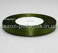 Лента атласная ширина 0,6 см. (23 метра)  цвет - темно зеленый