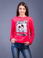 Красный женский свитшот с принтом